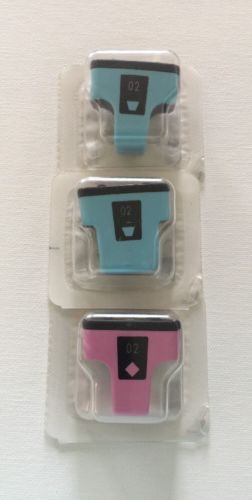 Lot of 3 HP 02 & HP 02 XL Cyan HP 02 Magenta Ink Cartridges
