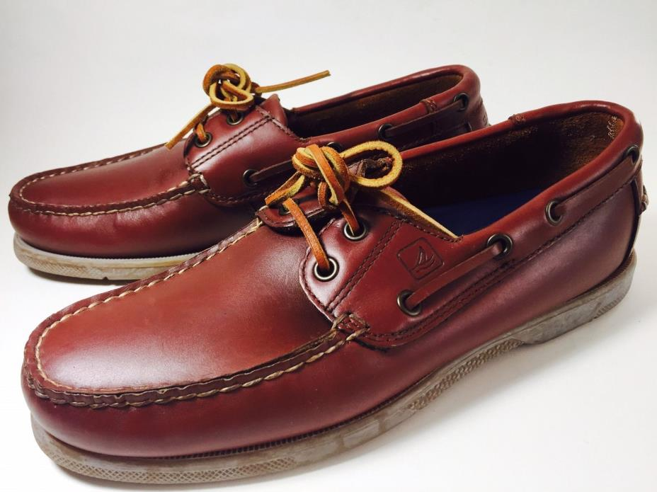 Vtg Sperry Top-Sider Mens Burgundy Brown Leather Slip On Boat Loafers Shoes Sz 8