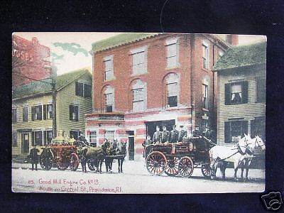 1910 Good Will Engine Co #13 House Providence RI post card Fire Station