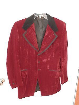 Vintage PALM BEACH Fashions Sport Coat Jacket Blazer Red Velvet Size 40 regular