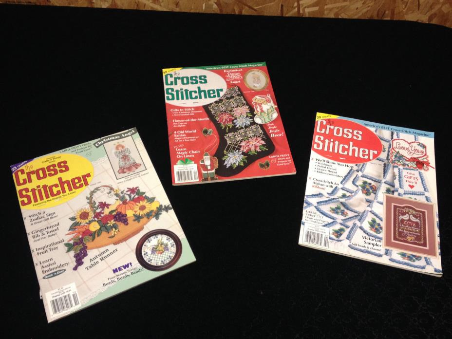 Vintage The Cross Stitcher Magazine - lot of 3 1995 1996 Large Print Charts