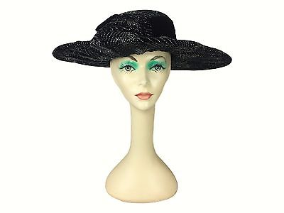 Estate Find! Wide Brim Black Velvet Structured Hat Glitter Derby