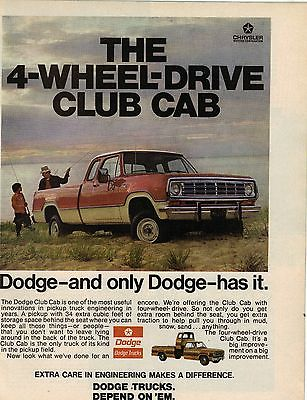 Original 1974 Dodge 4-Wheel-Drive Club Cab Pickup Magazine Ad