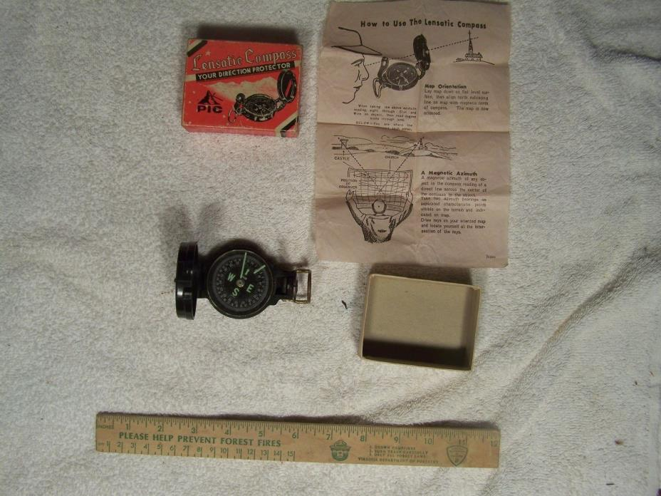 Vintage Lensatic Compass Engineer's Compass with Box, made in Japan