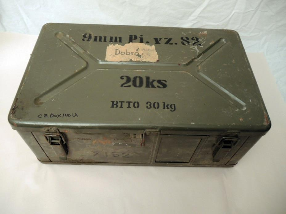 VINTAGE MILITARY METAL  20 X 12 X 8 AMMO BOX