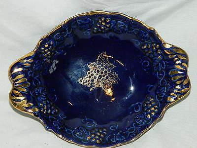 vintage Enesco Cobalt Blue & Gold nappy dish w/ handles Embossed Grape