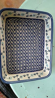 POLISH POTTERY RECTANGULAR DISH 10 INCHES LONG