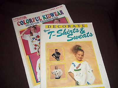 2 Vtg. Booklets - Decorate T-Shirts & Sweats/Colorful Kidwear Iron-on Transfers