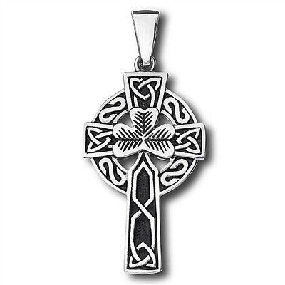 Stainless Steel Celtic Shamrock Cross pendant no chain