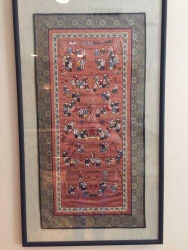 Antique Chinese Silk Forbidden Stitch? Embroidery Men Scenes Detailed Framed