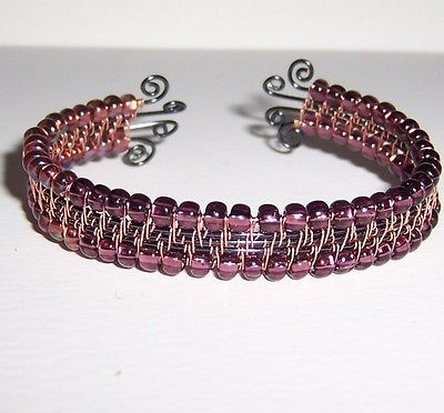 REDUCED! Copper Wire Woven Adjustable Wrapped Cuff Bracelet Copper Glass Beads