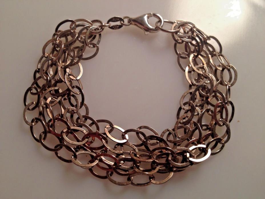 Milor italy 925 Silver Chain Link Bracelet Five Strands Lobster Claw Clasp