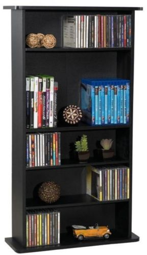 Media Organizer Shelf DVD Blu-ray CD Games Entertainment Free Standing Rack New