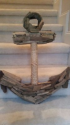 Large Driftwood Anchor Nautical Beach Wall Decor