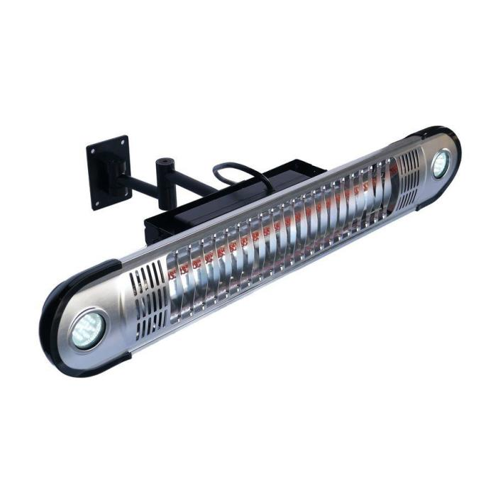 Black Aluminum 5100-BTU 110-Volt Water Resistant Electric Patio Infrared Heater