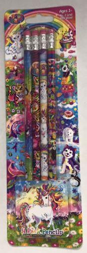 Lisa Frank Pencils 4 Pack New Unopened Unicorns Puppies Kittens