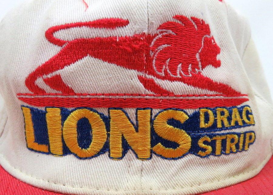 Vintage 1970s LIONS DRAG STRIP Wilmington, CA RACING Snap-Back Hat/Cap XLNT!