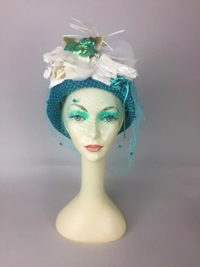 Estate Find! Meril Teal Felt Floral and Mesh Embellished Pillbox Derby USA Made