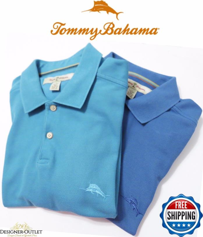 Lot of 2 Tommy Bahama Men's Aqua Blue Short Sleeve Golf Polo Shirt Marlin Logo L