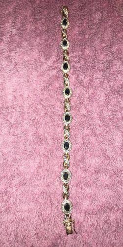Sapphire Tennis Bracelet Gold over Sterling Silver 7