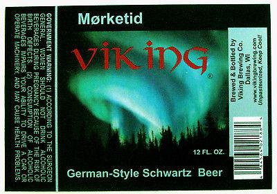 Viking Brewing VIKING MORKETID beer label WI 12oz
