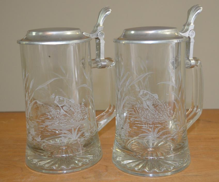 Set of Two - Vintage Domex Etched Glass Lidded Beer Steins - Bass Fish