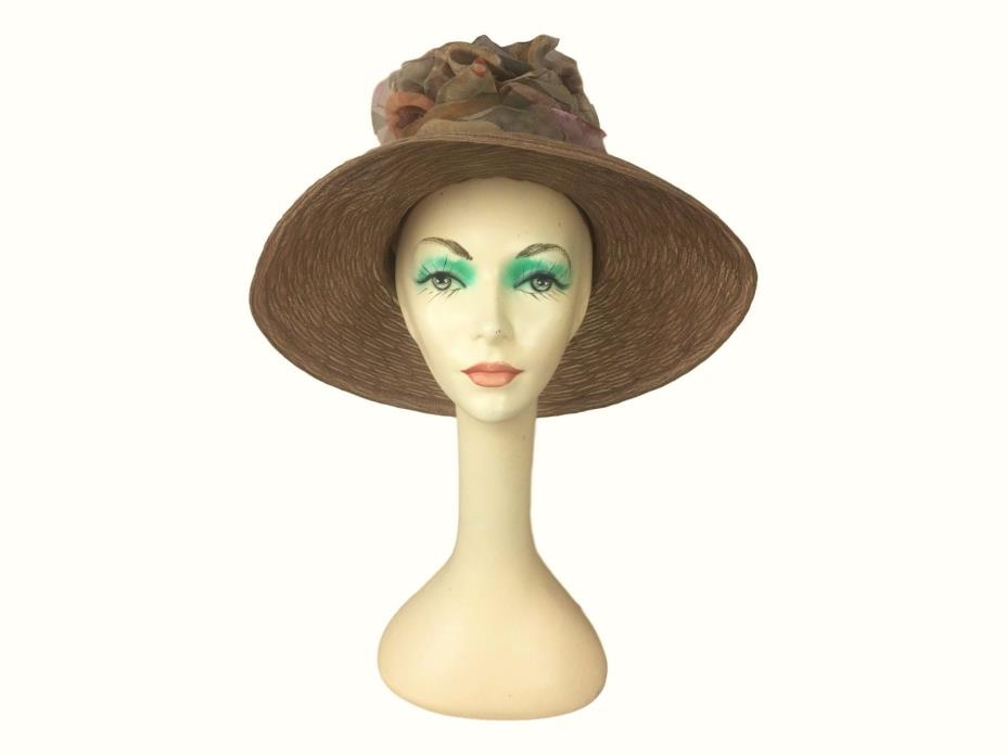 Estate Find! Meril Wide Brim Hat Metallic Brown Floral Derby