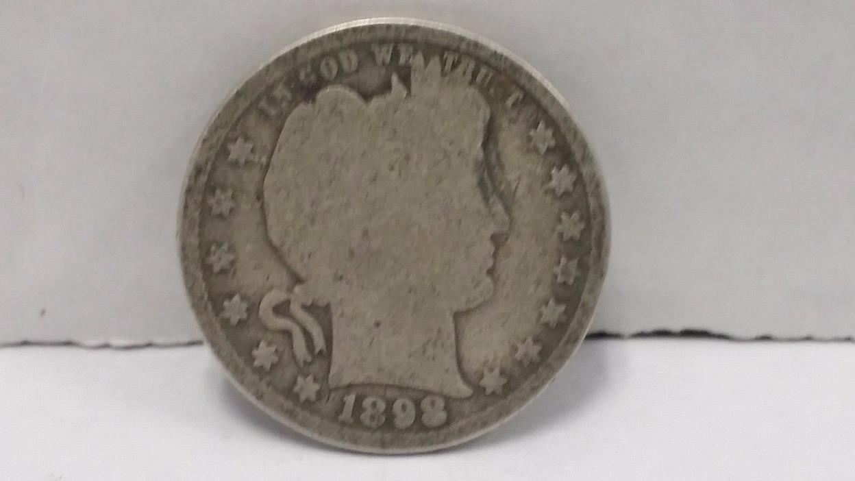 1898 90% Silver Barber Quarter worn Circulated