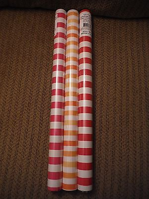 NEW Lot of 3 Striped Wrapping Paper RED, PINK, & ORANGE - 20