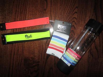 NEW Victoria's Secret Pink Campus Rainbow Water Bottle Crew Socks 2 Headband Lot