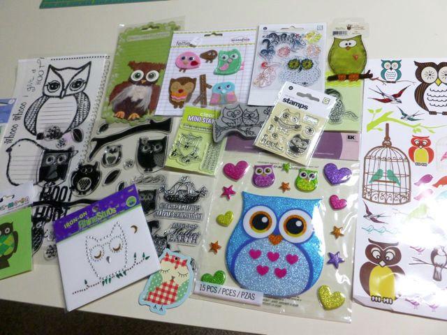 Scrapbooking Owl Lot - stickers, stamps, chipboard, mini album, rub ons