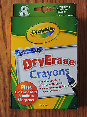 Crayola Washable Dry Erase Whiteboard Crayons Nontoxic Assorted 8 Pack (98-5200)