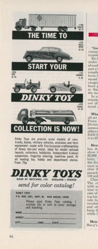 1961 Dinky Toys Ad Time to Start Your Collection Diecast Cars Trucks