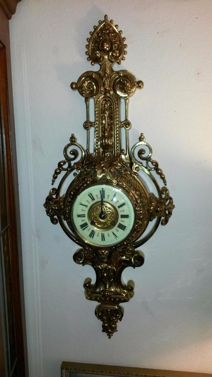 French AD Mougin Deux Medaille Brass Wall Clock