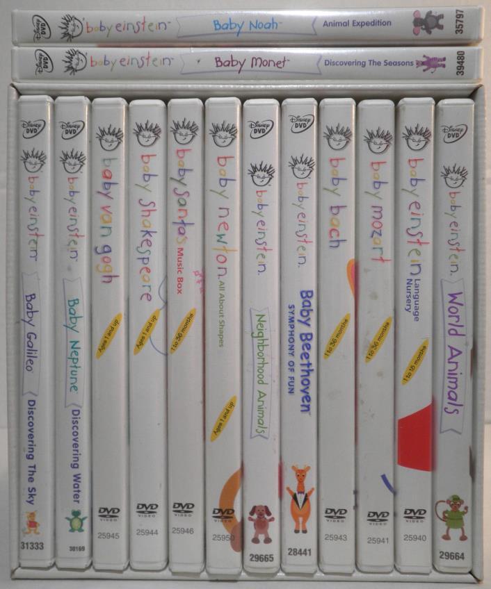BABY EINSTEIN 12 DVD BOX SET + 2 ADDITIONAL ART MUSIC ANIMALS SCIENCE DISNEY LOT