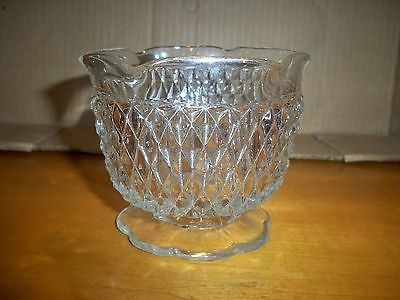 Pressed Glass Diamond Pattern Footed Bowl Dish Dessert Cup footed ruffled