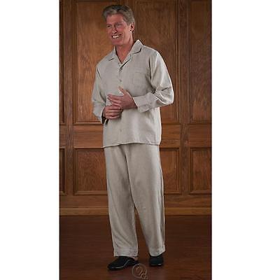 Hammacher Schlemmer Men's Genuine Turkish Linen Pajamas Top Pants Size Large