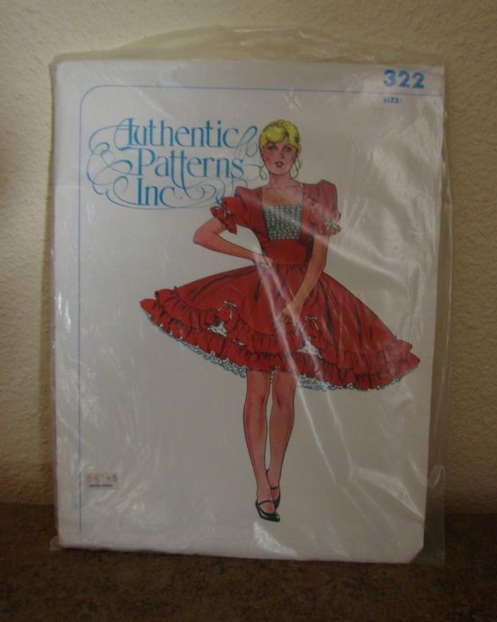 Authentic Patterns Inc #322 Peasant Square Dance Dress Misses sz 12 14 16 Uncut
