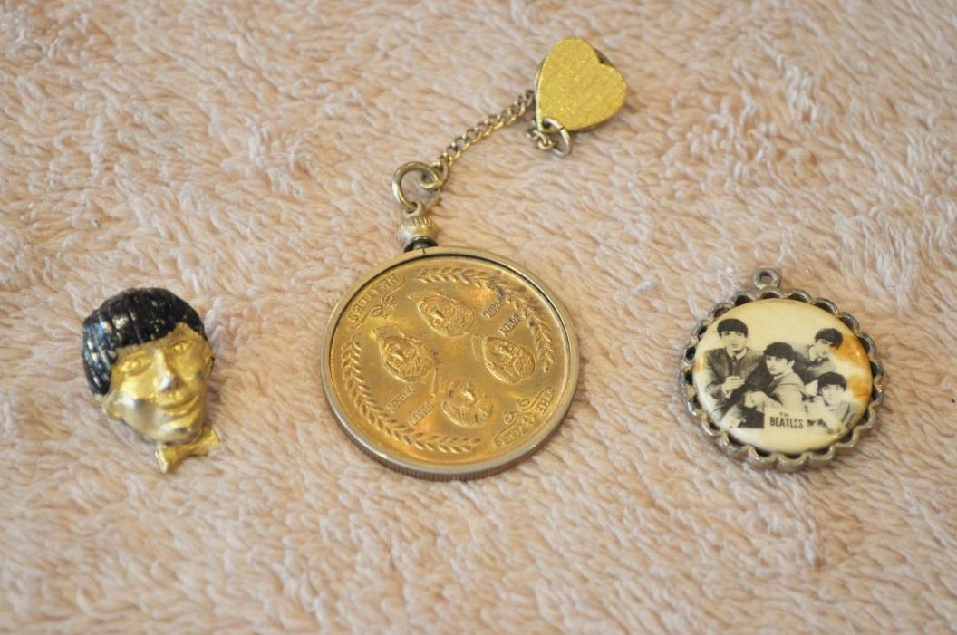 Beatles Jewelry 3 Items - Brooch, Tie Tack & Commemorative Coin