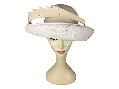 Estate Find! Mr. John Moderne Epic Gaga Like Cream Felt Lace Rhinestone Hat
