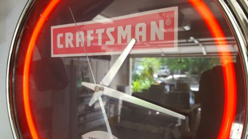 CRAFTSMAN Neon Wall Clock Special Edition 80 Years 1927-2007 Tool Garage