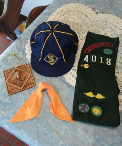 Vtg LOT BSA Boy Scout Cub Scout hat cap,  Cub Scout plaque, 1 scarf, sash
