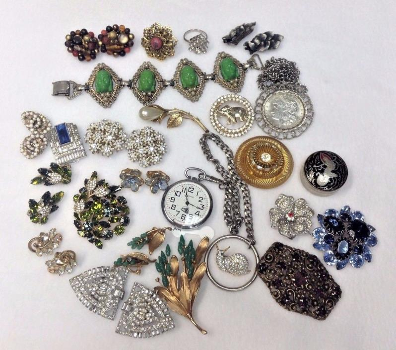 Vintage Costume Jewelry Wholesale Lot Of 25 Items / Including 1921 Silver Dollar