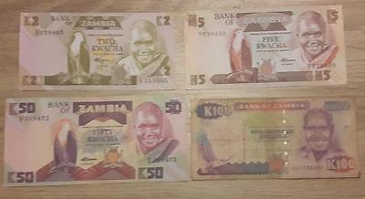 4 Note Zambia Set - Circulated to AU - Nice set with EAGLES !!!