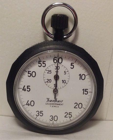 Vintage Hanhart US Goverment Wind Up Stopwatch WORKS!