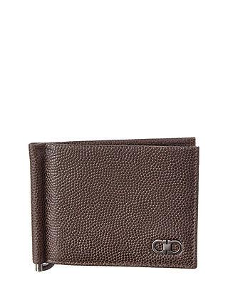 Salvatore Ferragamo Mens  Ten-Forty One Leather Money Clip Bifold, Brown