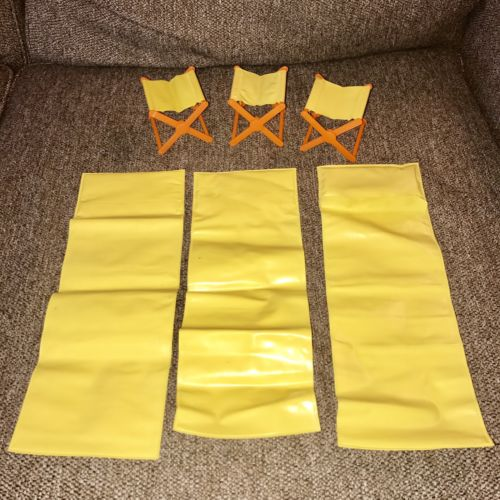 Lot 6 Vintage 1970s Mattel Barbie Camper Camping Sleeping Bag Chairs Yellow