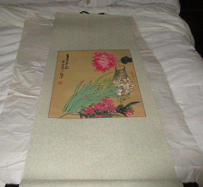 Vintage Oriental Hanging Scroll  Flowers Bottle Signature Colorful Attractive.