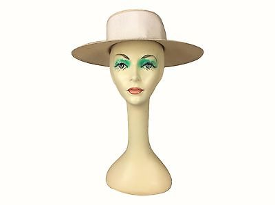Estate Find! Georgi RN10587 Cream Wide Brim Hat Satin Bow USA Made