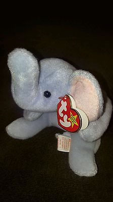Peanut Beanie Baby elephant 1995 RARE  light blue,with style #